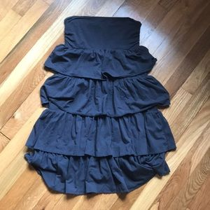 JCrew Grey Ruffled Tube Top Dress Sz S